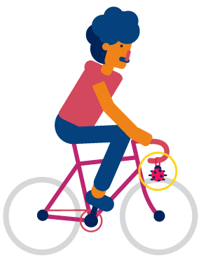 Illustration of person cycling in Bristol