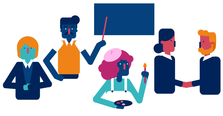 Illustration of teachers, business people, artists