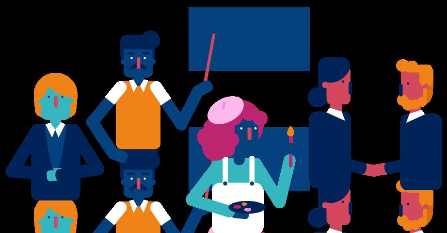 Illustration of teachers, business people, artists