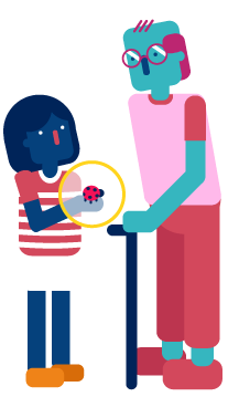 Illustration of girl showing an elderly man how to use the Air Quality sensor