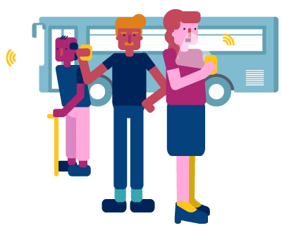 Illustration of people using sensors near a city bus